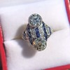 3.08ctw Edwardian Toi et Moi OEC and Sapphire Ring 14