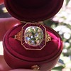 3.12ct Old European Cut Diamond Ruby Halo Ring, GIA L  20
