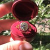 3.12ct Old European Cut Diamond Ruby Halo Ring, GIA L  16