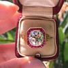 3.12ct Old European Cut Diamond Ruby Halo Ring, GIA L  26
