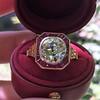 3.12ct Old European Cut Diamond Ruby Halo Ring, GIA L  1