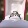 3.29ctw Art Deco Cushion Cut Diamond Double Frame Ring GIA L VS 6