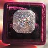 3.29ctw Art Deco Cushion Cut Diamond Double Frame Ring GIA L VS 4