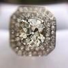 3.29ctw Art Deco Cushion Cut Diamond Double Frame Ring GIA L VS 13