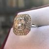 3.29ctw Art Deco Cushion Cut Diamond Double Frame Ring GIA L VS 21