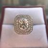 3.29ctw Art Deco Cushion Cut Diamond Double Frame Ring GIA L VS 12
