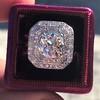 3.29ctw Art Deco Cushion Cut Diamond Double Frame Ring GIA L VS 5