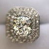 3.29ctw Art Deco Cushion Cut Diamond Double Frame Ring GIA L VS 14