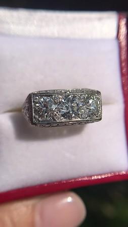 3.46ctw Edwardian 3-Stone Old European Cut Diamond Ring