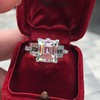 3.64ct Antique Carre Cut Art Deco Diamond Ring GIA J VS 39