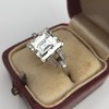 3.64ct Antique Carre Cut Art Deco Diamond Ring GIA J VS 34