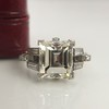 3.64ct Antique Carre Cut Art Deco Diamond Ring GIA J VS 9