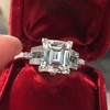 3.64ct Antique Carre Cut Art Deco Diamond Ring GIA J VS 0