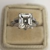 3.64ct Antique Carre Cut Art Deco Diamond Ring GIA J VS 17