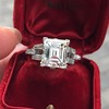 3.64ct Antique Carre Cut Art Deco Diamond Ring GIA J VS 8
