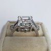 3.64ct Antique Carre Cut Art Deco Diamond Ring GIA J VS 36