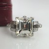 3.64ct Antique Carre Cut Art Deco Diamond Ring GIA J VS 3