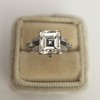 3.64ct Antique Carre Cut Art Deco Diamond Ring GIA J VS 30