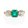 3.67ctw Colombian Emerald and Old European Cut Diamond 3-Stone Ring with AGL 0