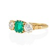 3.67ctw Colombian Emerald and Old European Cut Diamond 3-Stone Ring with AGL 1