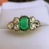 4.00ctw Antique Emerald and Diamond Ring 15