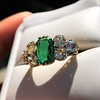 4.00ctw Antique Emerald and Diamond Ring 19