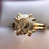 4.03ct Antique Cushion Cut Diamond, Fancy Light Brown Diamond Ring, GIA 9