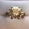 4.03ct Antique Cushion Cut Diamond, Fancy Light Brown Diamond Ring, GIA 11