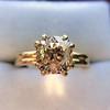 4.03ct Antique Cushion Cut Diamond, Fancy Light Brown Diamond Ring, GIA 14