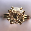 4.03ct Antique Cushion Cut Diamond, Fancy Light Brown Diamond Ring, GIA 16