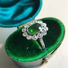 4.38ctw Art Deco Russian Demantoid & Diamond Cluster Ring 6