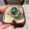 4.38ctw Art Deco Russian Demantoid & Diamond Cluster Ring 24