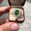 4.38ctw Art Deco Russian Demantoid & Diamond Cluster Ring 28