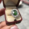 4.38ctw Art Deco Russian Demantoid & Diamond Cluster Ring 9