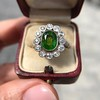 4.38ctw Art Deco Russian Demantoid & Diamond Cluster Ring 30