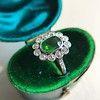 4.38ctw Art Deco Russian Demantoid & Diamond Cluster Ring 23