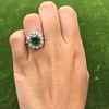 4.38ctw Art Deco Russian Demantoid & Diamond Cluster Ring 19