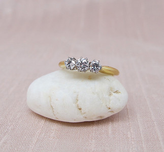 .46tcw Old European Cut Diamond 3-stone Ring OEC
