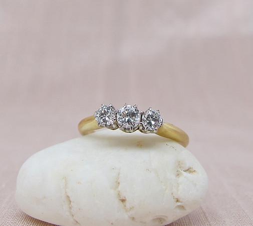 .46tcw Old European Cut Diamond 3-stone Ring