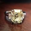 4.71ct Antique Light Yellow Emerald Cut Diamond Ring GIA WX VS 0