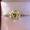 4.71ct Antique Light Yellow Emerald Cut Diamond Ring GIA WX VS 16