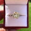 4.71ct Antique Light Yellow Emerald Cut Diamond Ring GIA WX VS 1
