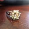 4.71ct Antique Light Yellow Emerald Cut Diamond Ring GIA WX VS 15