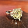 4.71ct Antique Light Yellow Emerald Cut Diamond Ring GIA WX VS 14