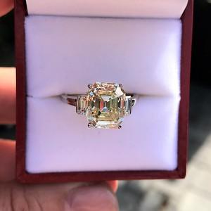 4.71ct Antique Light Yellow Emerald Cut Diamond Ring GIA WX VS
