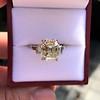 4.71ct Antique Light Yellow Emerald Cut Diamond Ring GIA WX VS 9