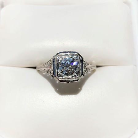 .48ct Art Deco Old European Cut Diamond Filigree Ring