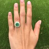 5.34ctw Emerald and Old Mine Cut Diamond Cluster Ring 8