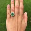 5.34ctw Emerald and Old Mine Cut Diamond Cluster Ring 4