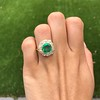 5.34ctw Emerald and Old Mine Cut Diamond Cluster Ring 13